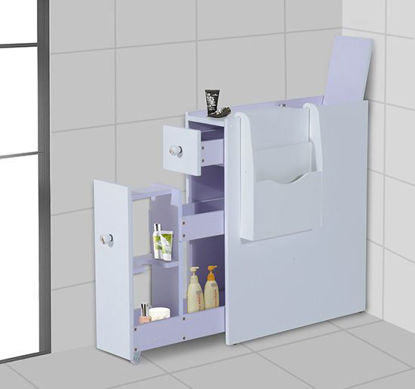 Picture of Slide-Out Bathroom Floor Cabinet with Newspaper Rack - White