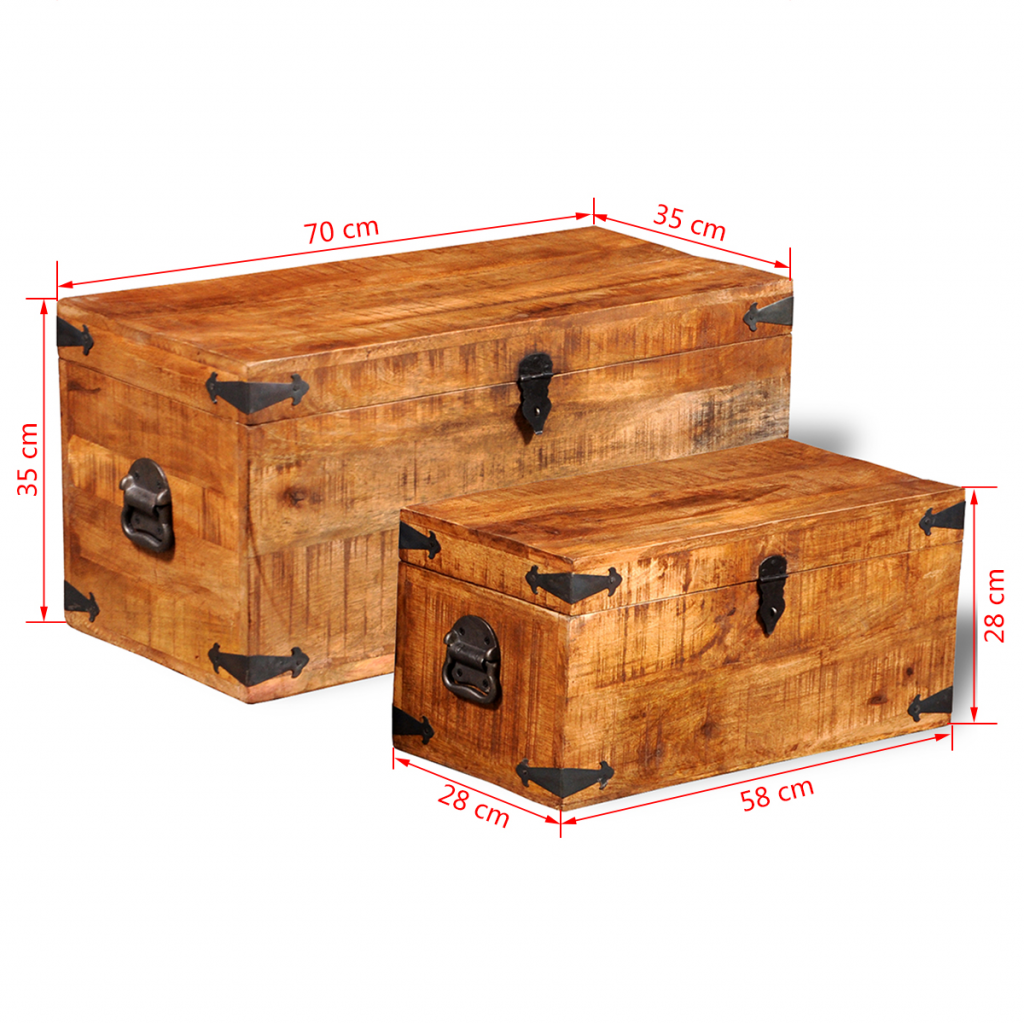 Picture of Storage Chest Set of 2 - Rough Mango Wood