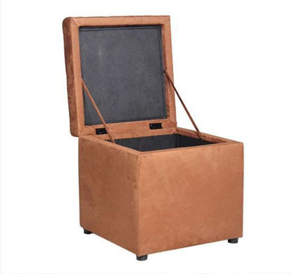 """Picture of Storage Ottoman 16"""" Micro Fiber Foot Stool - Brown"""