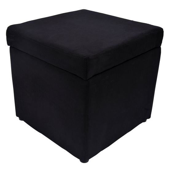 Picture of Storage Ottoman Micro Fiber Foot Stool - Black
