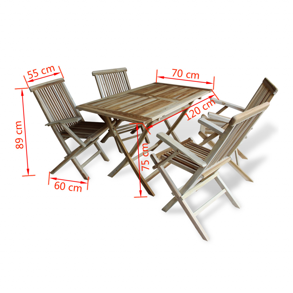 Picture of Teak Five Piece Outdoor Dining Set
