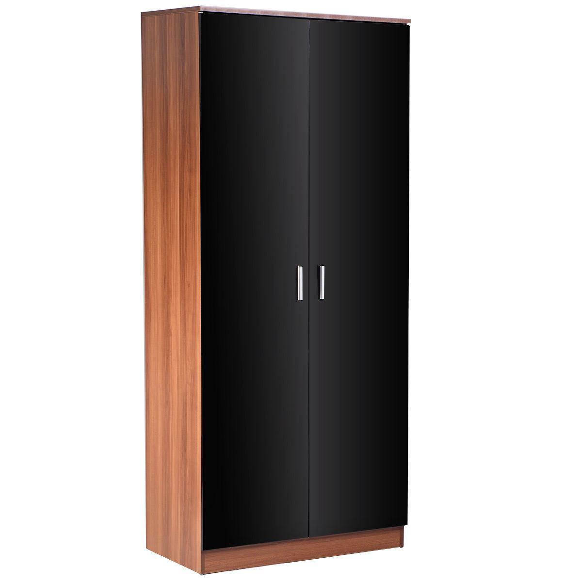 Picture of Trio Bedroom Furniture Set High Gloss 2 Door Wardrobe, Chest, and Bedside 3 Piece - Black