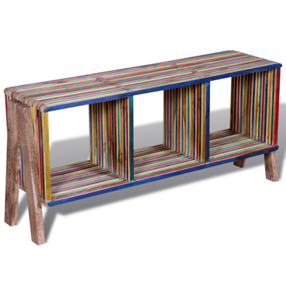 Picture of TV Cabinet with 3 Shelves Stackable - Colorful Reclaimed Teak