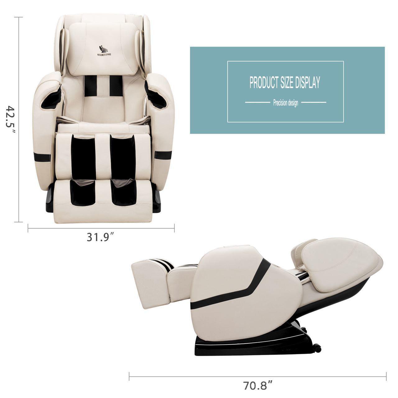 Picture of Zero Gravity Shiatsu Full Body Massage Chair Recliner with Heat and Foot Rest - Khaki