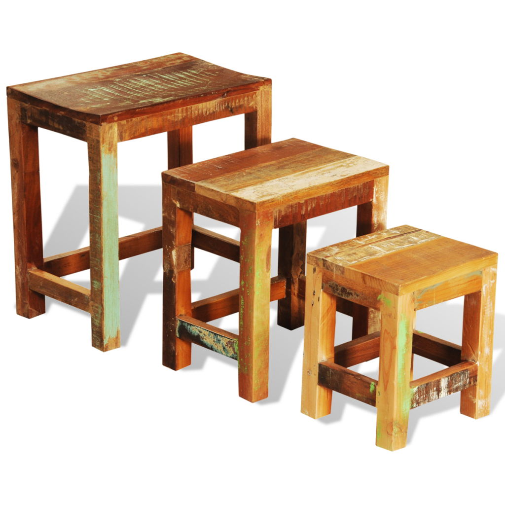 Picture of Vintage Antique-Style Nesting Tables Set of 3 - Reclaimed Wood