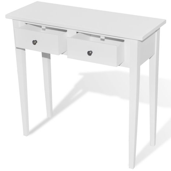 Picture of White Dressing Console Table with Two Drawers