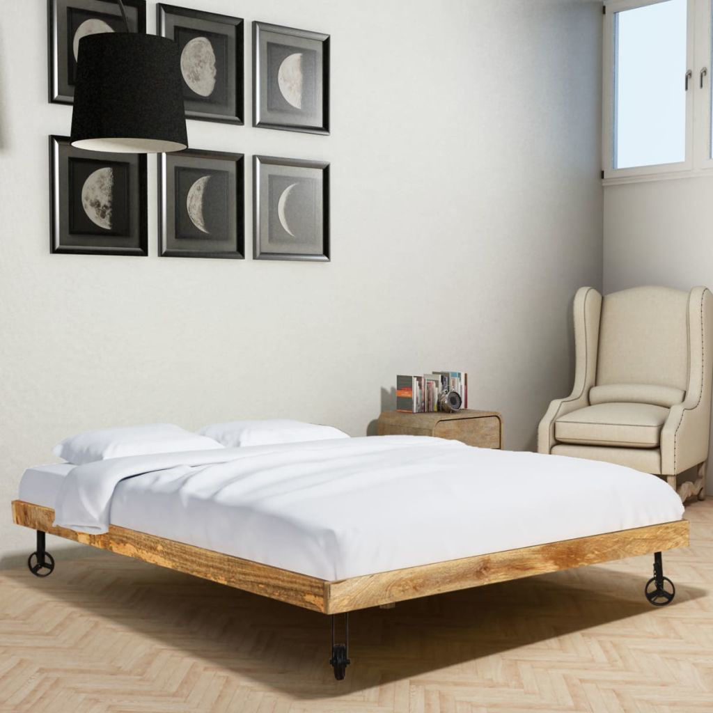 """Picture of Wooden Double Bed Frame - Rough Mango 55"""""""