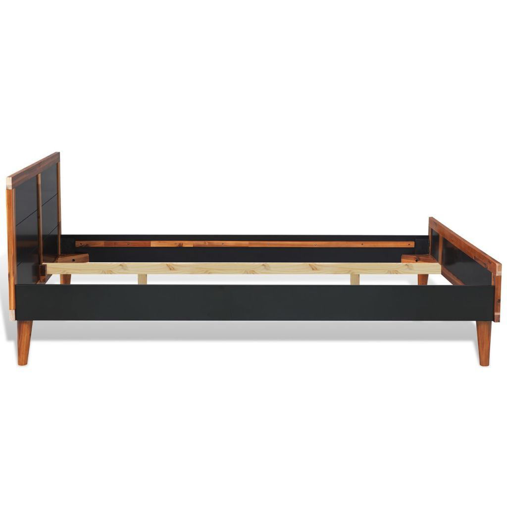 """Picture of Wooden Double Bed Frame Solid Acacia 78"""" - Black"""