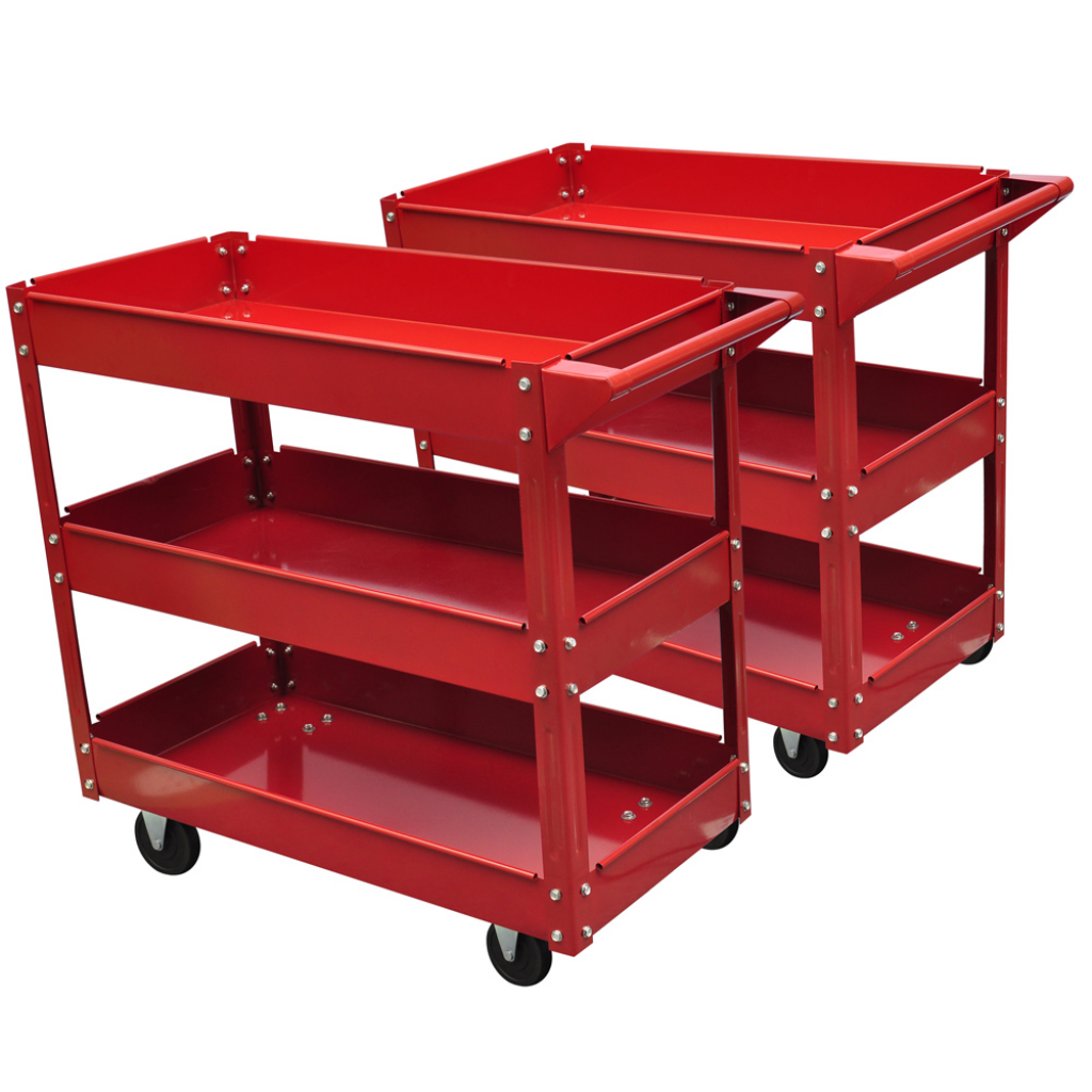 Picture of Workshop Tool Trolley 220 lbs 3 Shelves - 2 pcs