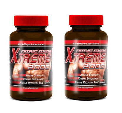 Picture of Xtreme Nitric Oxide Extreme 2000 L-ARGININE Build Muscle 90 Caps 2400 MG - 2 Bottles