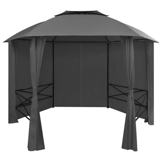 Picture of Outdoor Hexagonal Gazebo Pavilion Tent with Curtains