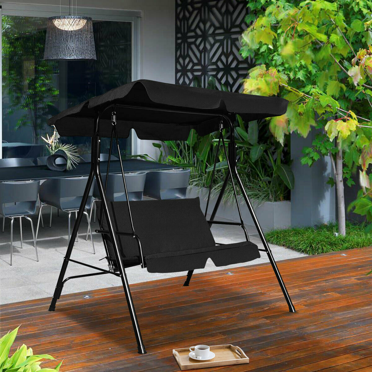 Picture of Outdoor 2 Person Patio Swing Black