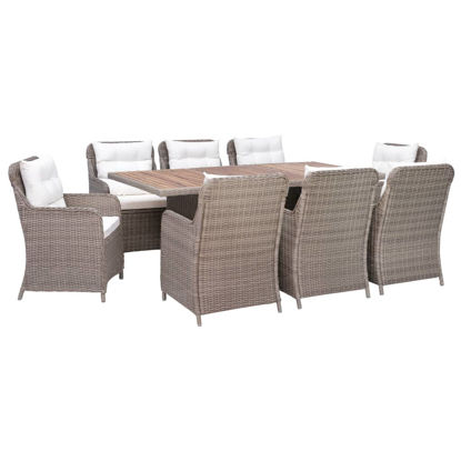 Picture of Outdoor Dining Set with Cushions 9 Piece - Brown