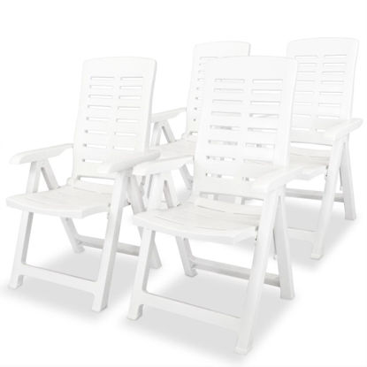 Picture of Outdoor Reclining Chairs - White 4 pcs