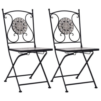 Picture of Patio Mosaic Bistro Chairs - 2 pcs Gray