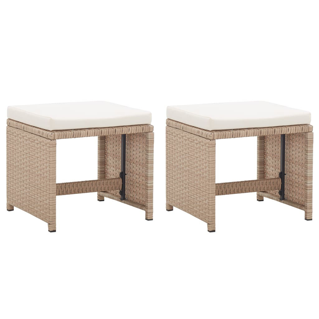 Picture of Outdoor Patio Stools - Beige 2 pcs