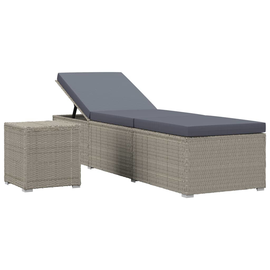 Picture of Outdoor Lounger with Tea Table - Gray