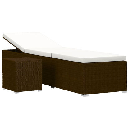 Picture of Outdoor Lounger with Tea Table - Brown
