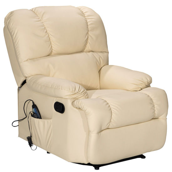 Picture of Recliner Heated Massage Chair With Control Beige