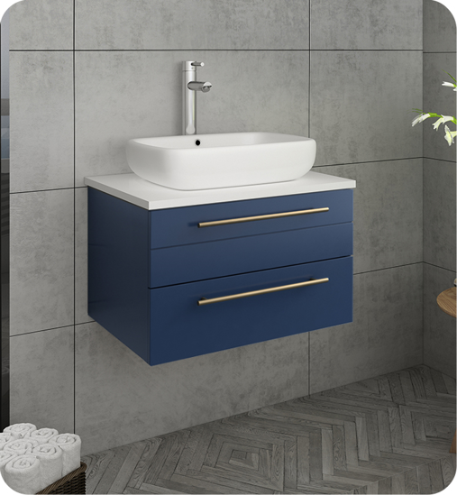 "Picture of Lucera 24"" Royal Blue Wall Hung Modern Bathroom Cabinet w/ Top & Vessel Sink"
