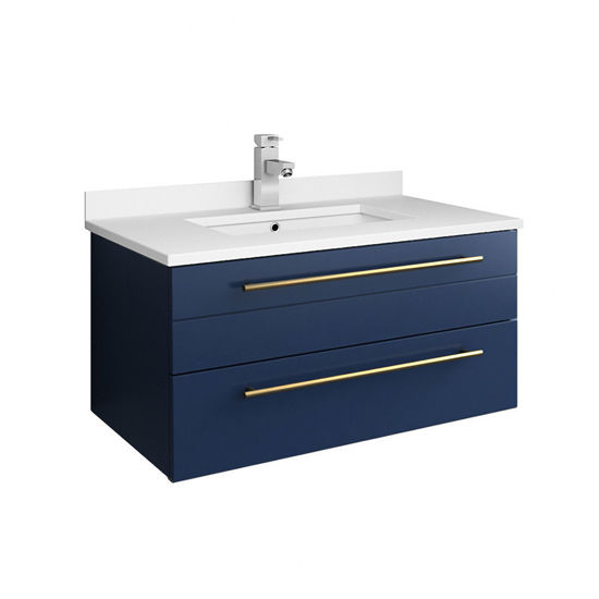 "Picture of Lucera 30"" Royal Blue Wall Hung Modern Bathroom Cabinet w/ Top & Undermount Sink"
