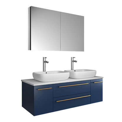 "Picture of Lucera 48"" Royal Blue Wall Hung Double Vessel Sink Modern Bathroom Vanity w/ Medicine Cabinet"