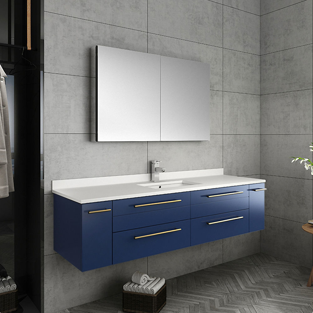 """Picture of Lucera 60"""" Royal Blue Wall Hung Single Undermount Sink Modern Bathroom Vanity w/ Medicine Cabinet"""