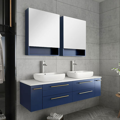 "Picture of Lucera 60"" Royal Blue Wall Hung Double Vessel Sink Modern Bathroom Vanity w/ Medicine Cabinets"
