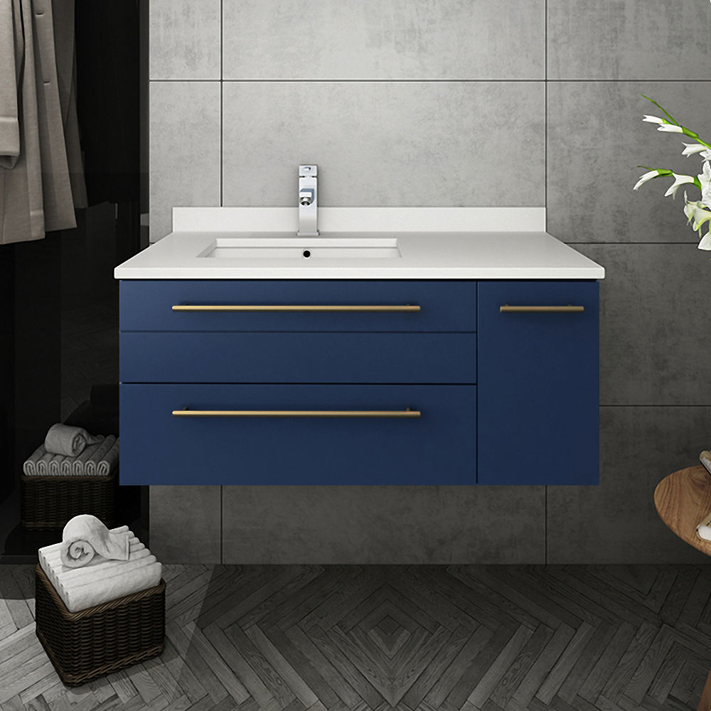 """Picture of Lucera 36"""" Royal Blue Wall Hung Modern Bathroom Cabinet w/ Top & Undermount Sink - Left Version"""