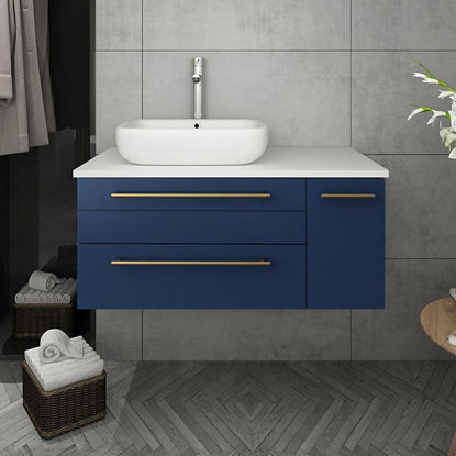 "Picture of Lucera 36"" Royal Blue Wall Hung Modern Bathroom Cabinet w/ Top & Vessel Sink - Left Version"