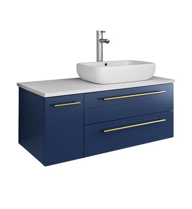 "Picture of Lucera 36"" Royal Blue Wall Hung Modern Bathroom Cabinet w/ Top & Vessel Sink - Right Version"