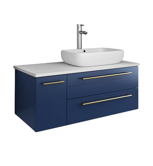 """Picture of Lucera 36"""" Royal Blue Wall Hung Modern Bathroom Cabinet w/ Top & Vessel Sink - Right Version"""