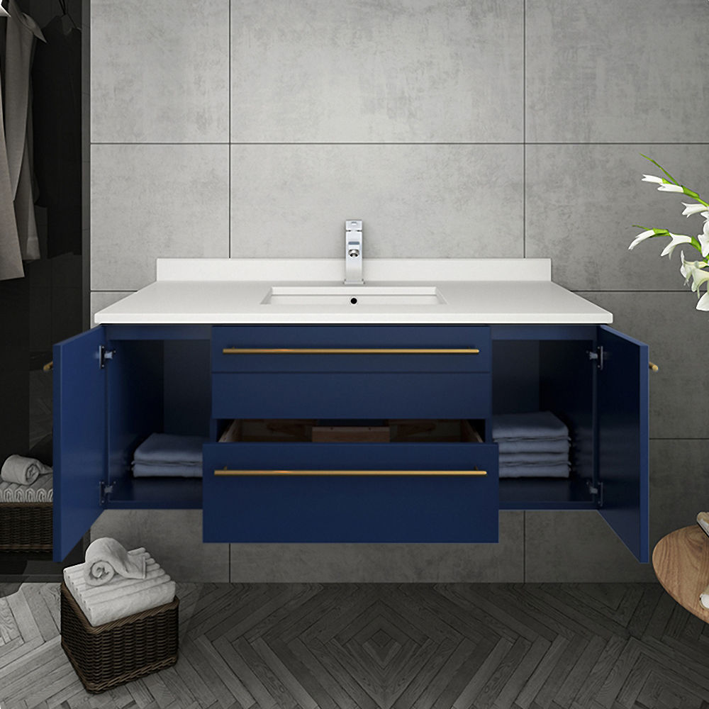 """Picture of Lucera 42"""" Royal Blue Wall Hung Modern Bathroom Cabinet w/ Top & Undermount Sink"""