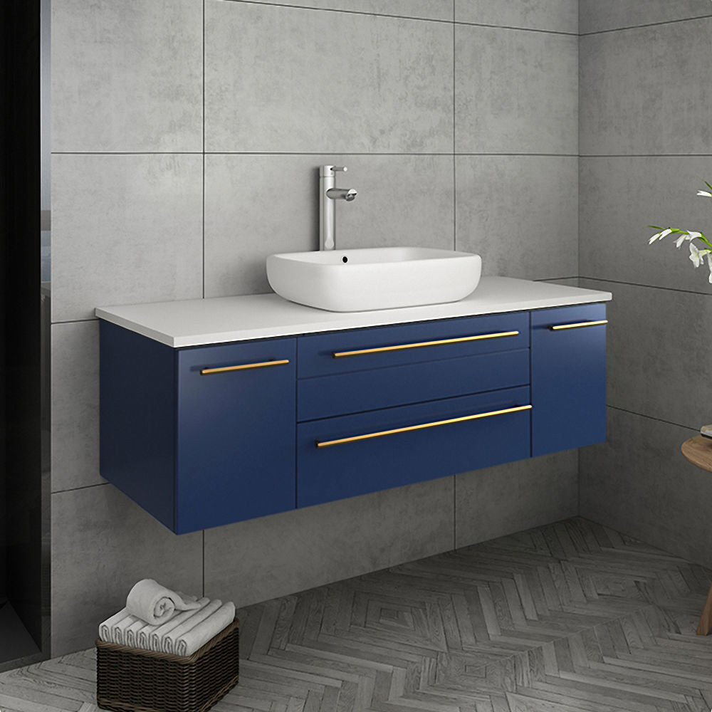 "Picture of Lucera 48"" Royal Blue Wall Hung Modern Bathroom Cabinet w/ Top & Vessel Sink"