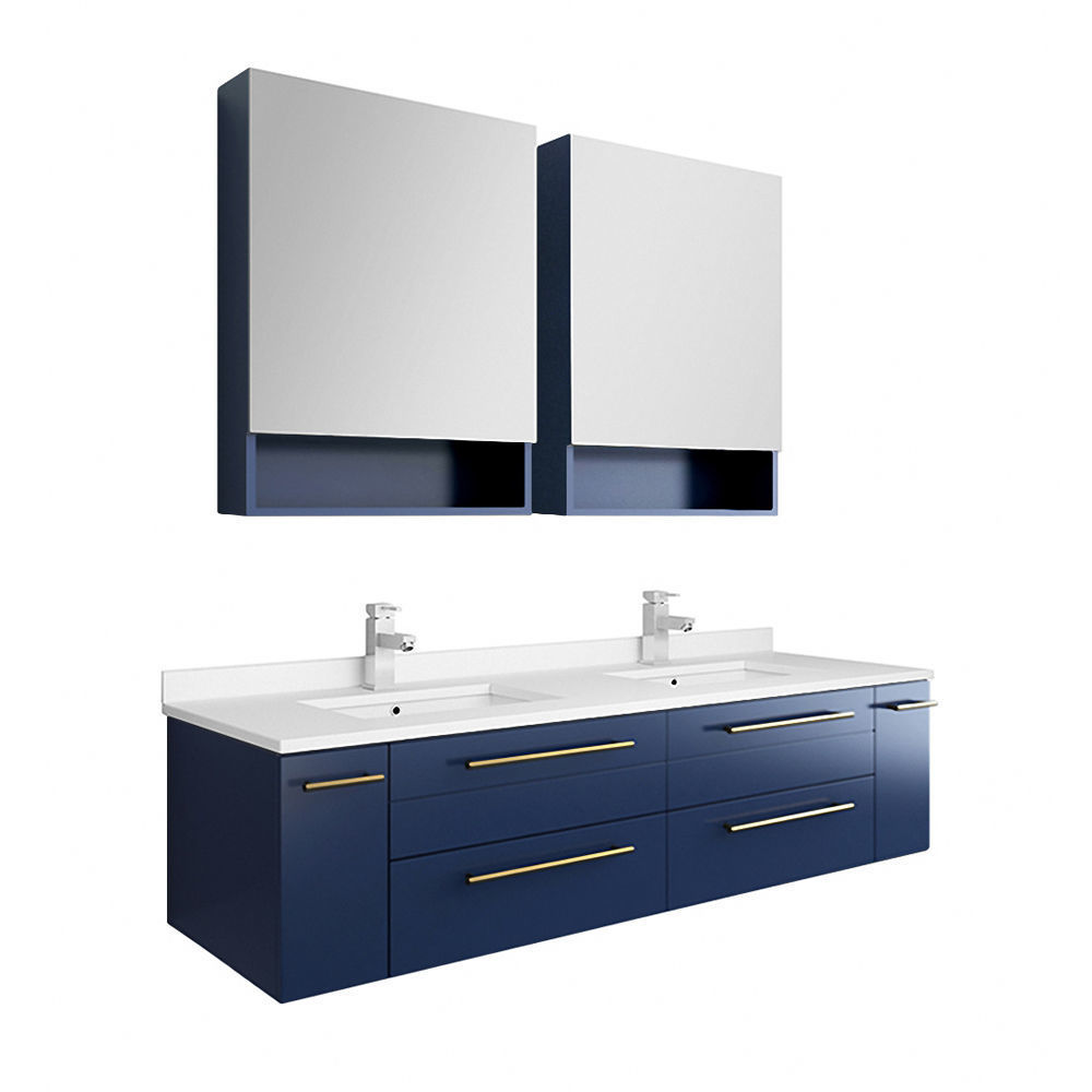 "Picture of Lucera 60"" Royal Blue Wall Hung Modern Bathroom Cabinet w/ Top & Double Undermount Sinks"