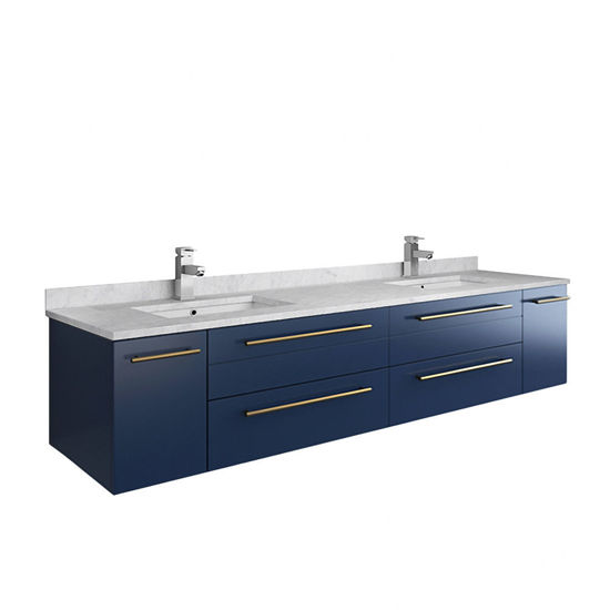 """Picture of Lucera 72"""" Royal Blue Wall Hung Modern Bathroom Cabinet w/ Top & Double Undermount Sinks"""