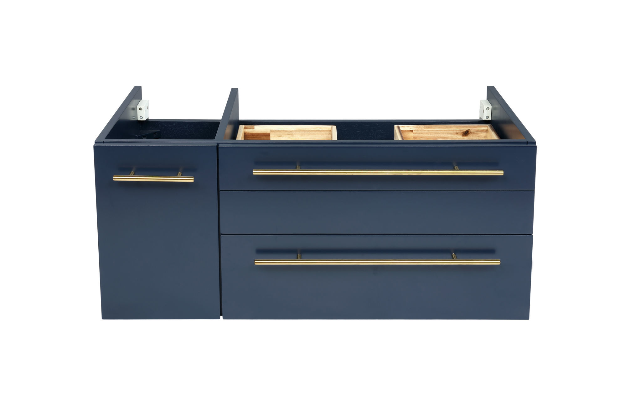 """Picture of Lucera 36"""" Royal Blue Wall Hung Vessel Sink Modern Bathroom Cabinet - Right Version"""