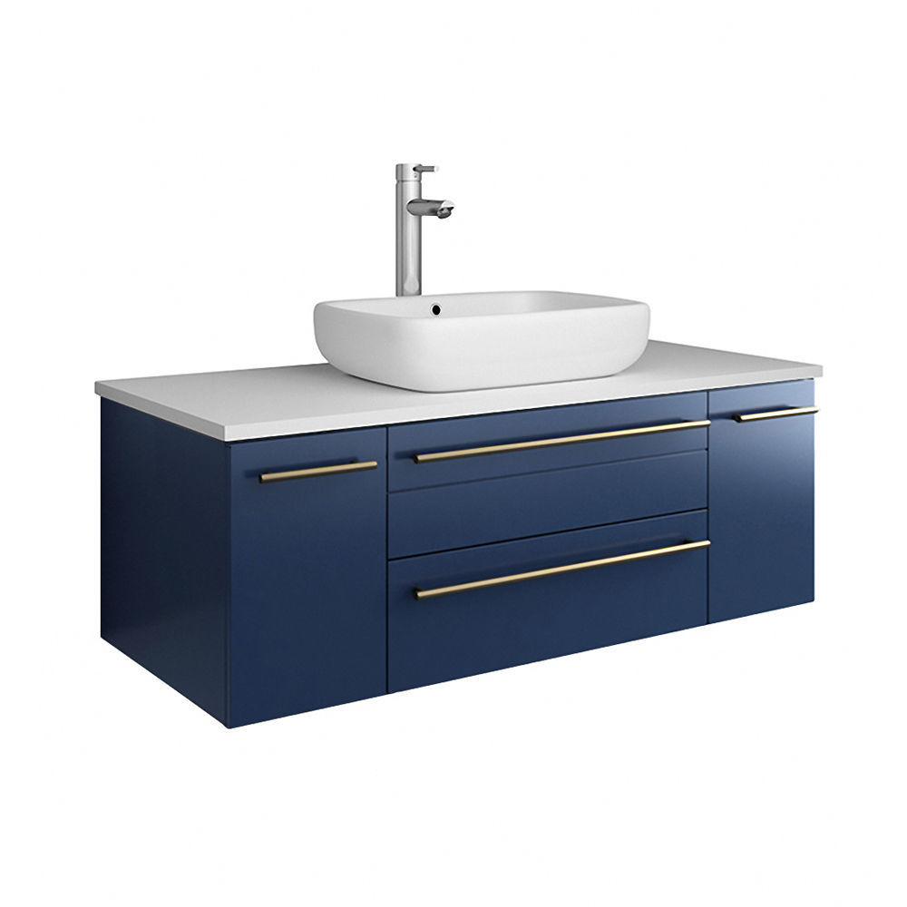 "Picture of Lucera 42"" Royal Blue Wall Hung Vessel Sink Modern Bathroom Cabinet"