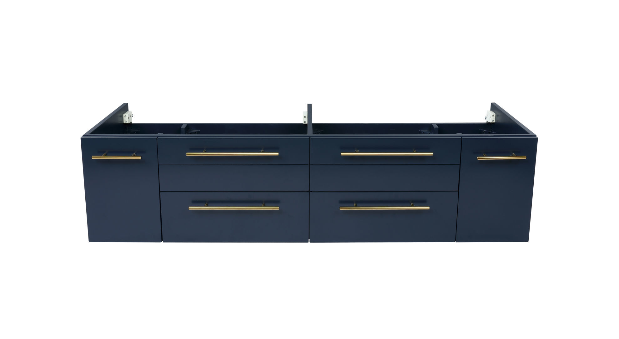 """Picture of Lucera 60"""" Royal Blue Wall Hung Double Undermount Sink Modern Bathroom Cabinet"""