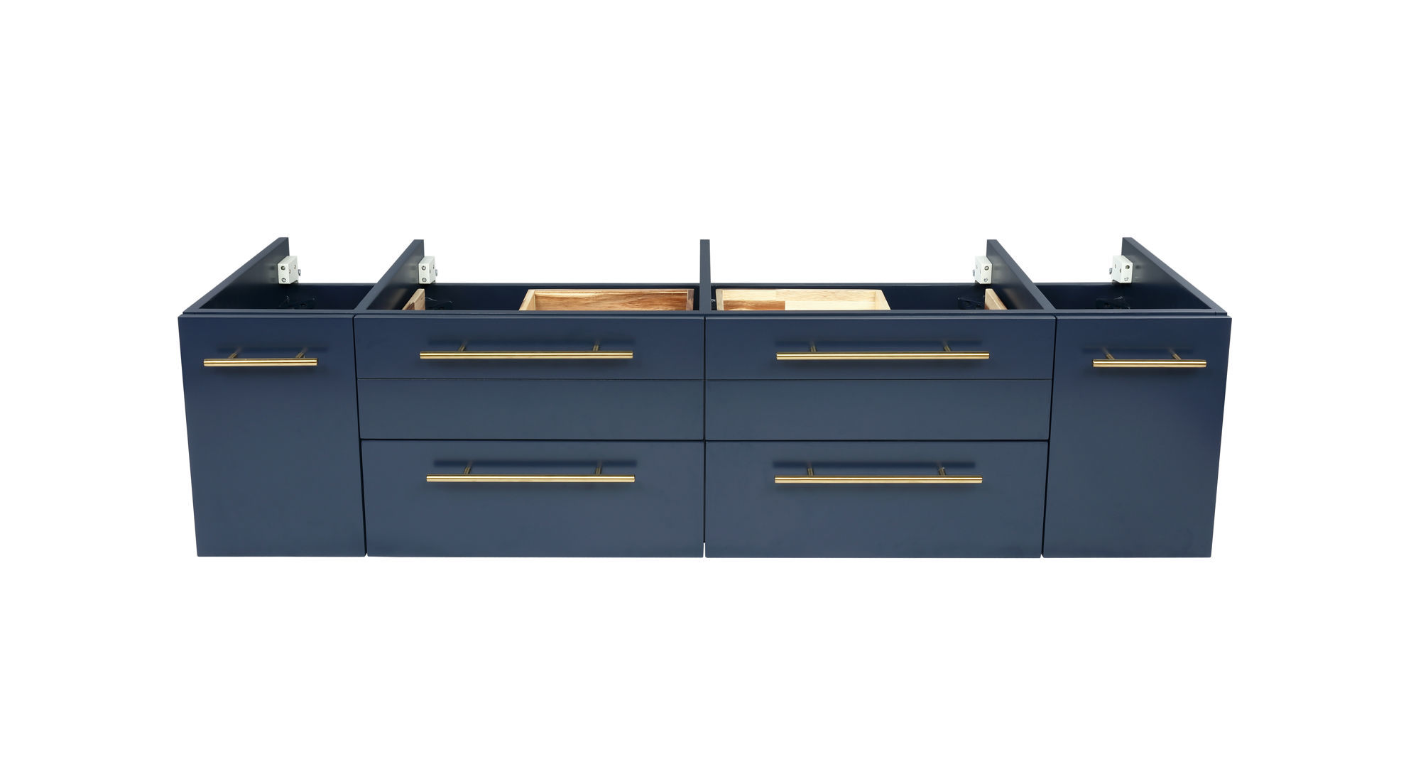 """Picture of Lucera 60"""" Royal Blue Wall Hung Double Vessel Sink Modern Bathroom Cabinet"""