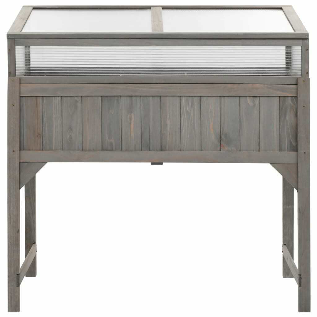 Picture of Outdoor Wooden Raised Bed with Greenhouse