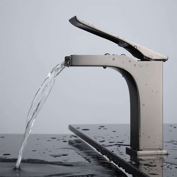 Picture of Single Hole Waterfall Bathroom Faucet - Gun Metal