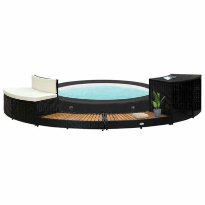 Picture of Outdoor Hot Tub Surround - Black with Wood