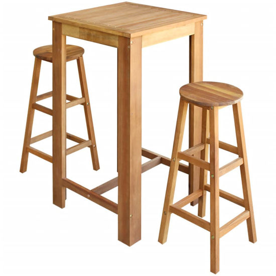 Picture of Wooden Bar Table with Stools - 3 pc