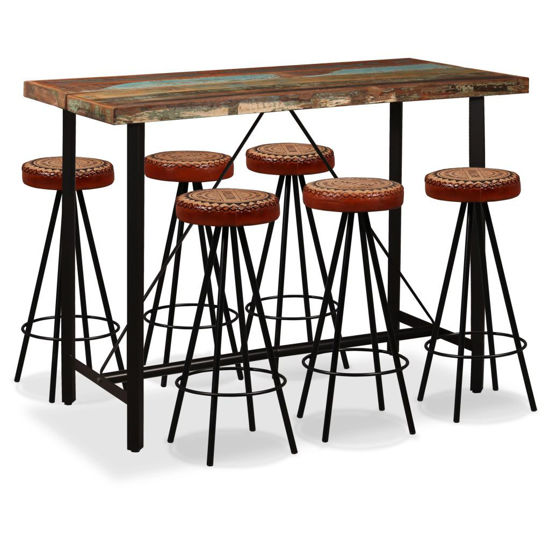 Picture of Wooden Bar Set with Barstools - 7pc