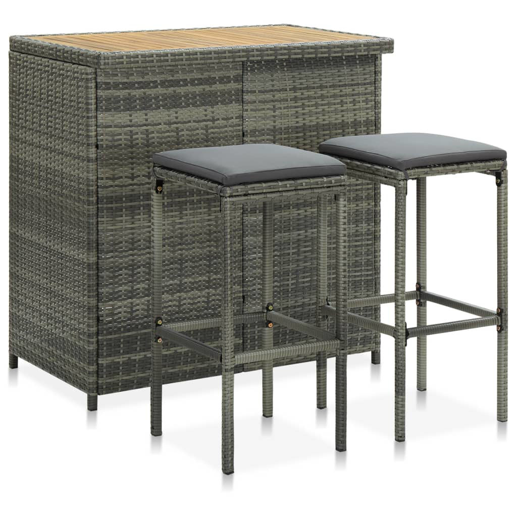 Picture of Outdoor Bar Set - 3pc Gray