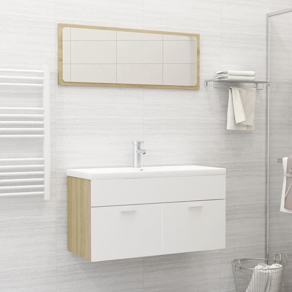 """Picture of 35"""" Bathroom Furniture Set with Mirror - White and Sonoma Oak"""