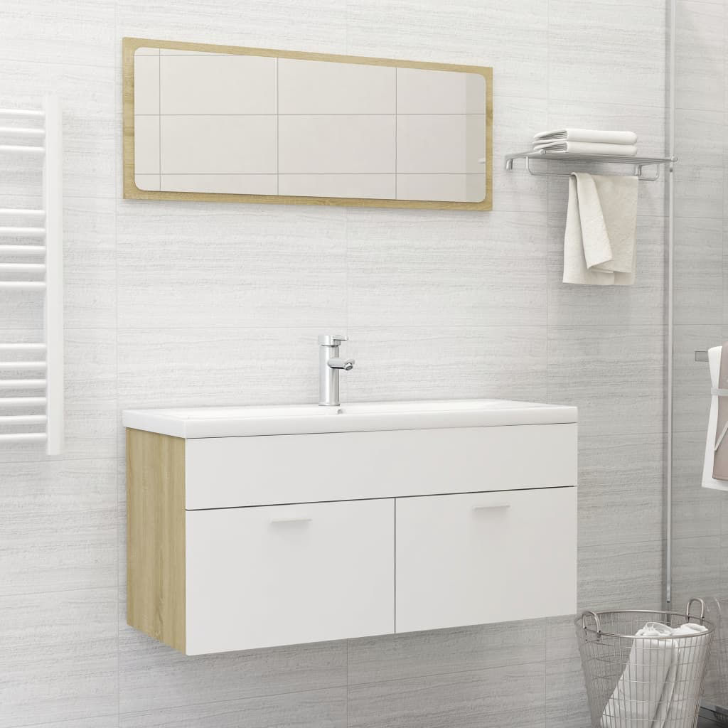 """Picture of 39"""" Bathroom Furniture Set with Mirror - White and Sonoma Oak"""