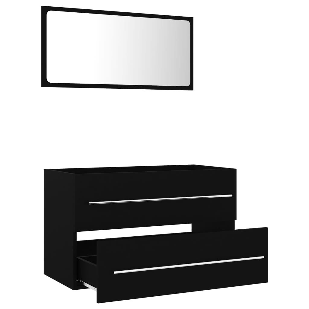 """Picture of 31"""" Bathroom Furniture Set with Mirror - Black"""