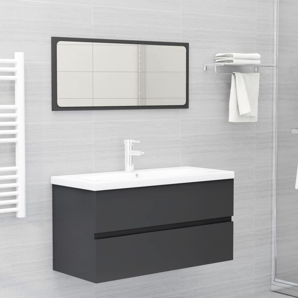 """Picture of 35"""" Bathroom Furniture Set with Mirror - Gray"""